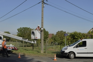 Photo d'installation fibre par Axione